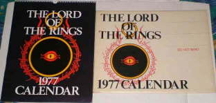 The Lord of the Rings 1977 Calendar. Issued in a card mailing envelope.