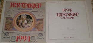 1994 J.R.R. Tolkien Calendar. Issued in a card mailing envelope.