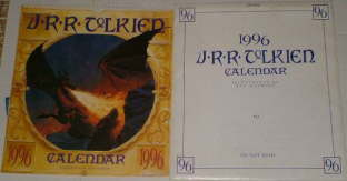1996 J.R.R. Tolkien Calendar. Issued in a card mailing envelope.