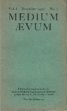 Medium Aevum. 1932. Paperback journal.