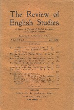 Review of English Studies. April 1925. Paperback journal.